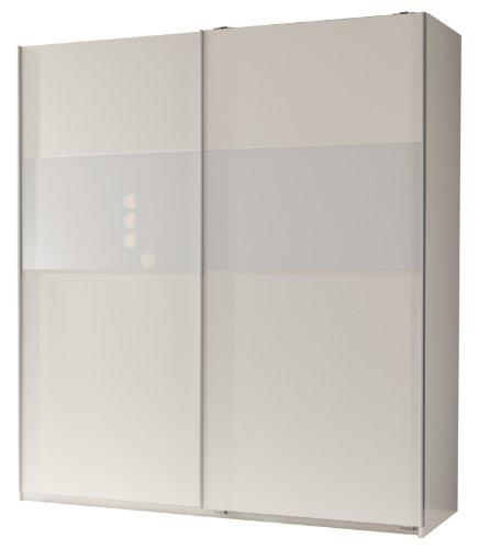 Wimex Kleiderschrank/ Schwebetürenschrank Arezzo, 2 Türen, (B/H/T) 198 x 64 x 180 cm, Alpinweiß/ Absetzung Glas Weiß