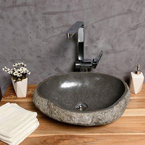 wohnfreuden Naturstein Waschbecken 40 cm mit Unikatauswahl nach dem Kauf