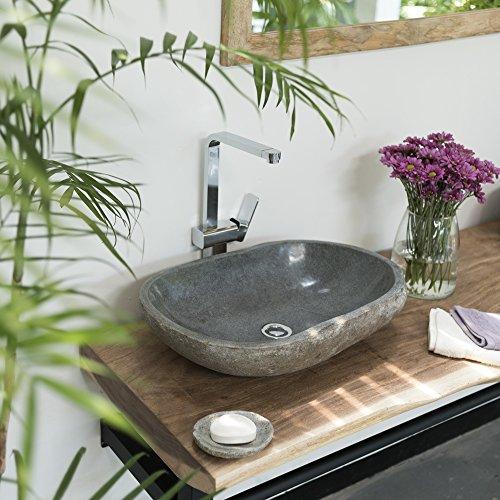 wohnfreuden Waschbecken aus Stein natürlich ca 60 cm Naturstein in Bad WC Garten mit Unikatauswahl nach dem Kauf aus…
