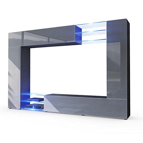 Wohnwand Anbauwand Mirage, Korpus in Schwarz matt / Fronten in Grau Hochglanz inkl. LED Beleuchtung