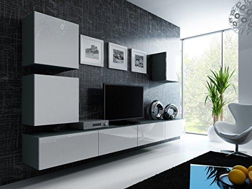 Wohnwand Anbauwand VIGO in MDF Hochglanz, Pusch Click, Farbauswahl (grau / weiß hochglanz)