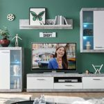 Wohnwand Anbauwand Wohnzimmerschrank 4-tlg. | Dekor | Grau-Weiß | Glas | LED-Beleuchtung