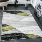 Wohnzimmer Teppich Modern Geometrisches Muster Gestreift Meliert in Grün Weiss Schwarz Grau - ÖKO TEX Zertifiziert, Maße:80x150 cm