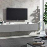 Wuun® TV Board hängend/8 Größen/5 Farben/280cm Matt Weiß- Grau-Hochglanz/Lowboard Hängeschrank Hängeboard Wohnwand/Hochglanz & Naturtöne/Somero