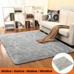 bureze grau Plüsch Teppich rutschsicheren Schlafzimmer Wohnzimmer Teppich