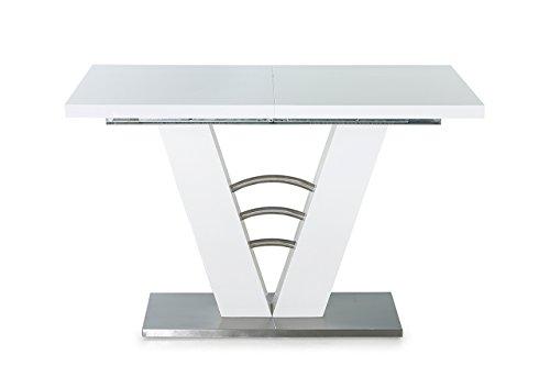 lifestyle4living Esstisch in weiß Hochglanz, ausziehbarer Esszimmertisch, 120-160 cm breit und 80 cm tief, rechteckig, modern