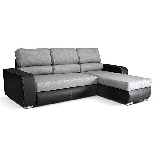 mb-moebel Kleines Ecksofa mit Schlaffunktion Eckcouch mit Bettkasten Sofa Couch Wohnlandschaft L-Form Polsterecke RONI (Ecksofa Rechts, Grau)