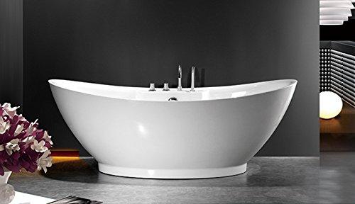 """perfect-spa Freistehende Badewanne""""Liverpool"""" Wanne inkl. Ab- und Überlauf Exclusive freistehende Badewanne Acrylwanne Wanne Dusche Bad incl. Amaturen"""