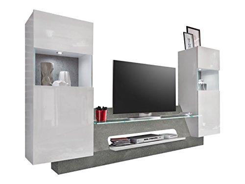 trendteam AR00235 Wohnwand TV Möbel Weiß Glanz, Absetzung Grau Beton Nachbildung, BxHxT 261x147x47 cm