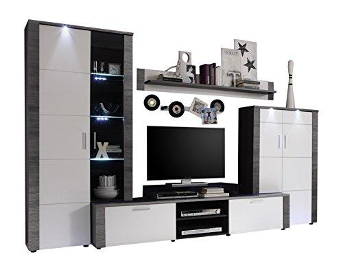 trendteam Wohnzimmer Anbauwand Wohnwand Wohnzimmerschrank Xpress, 308 x 197 x 47 cm in Korpus Esche Grau Dekor, Front Weiß mit LED Beleuchtung