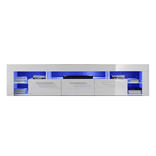 trendteam Wohnzimmer Lowboard Fernsehschrank Fernsehtisch Score Wohnen, 200 x 44 x 44 cm in Weiß Hochglanz inklusive LED Beleuchtung in Blau