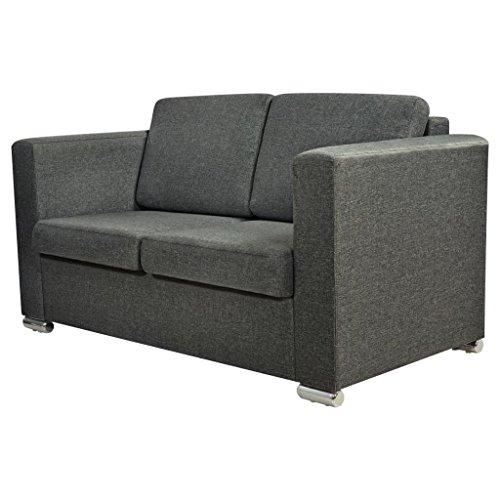 vidaXL 2-Sitzer Sofa Polstersofa Loungesofa Couch Sitzmöbel Stoff Dunkelgrau