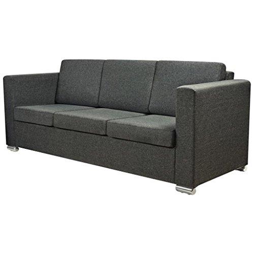 vidaXL 3-Sitzer Sofa Polstersofa Loungesofa Couch Sitzmöbel Stoff Dunkelgrau
