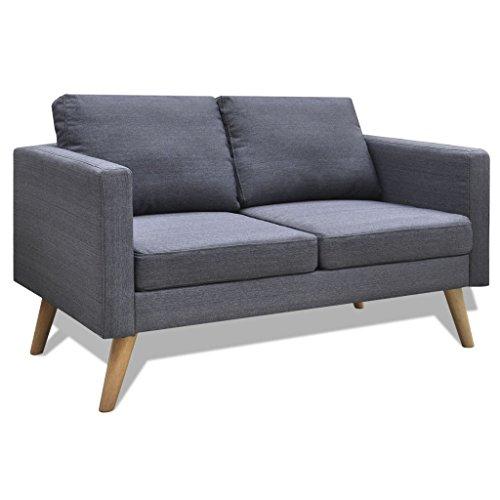 vidaXL Sofa 2-Sitzer Polstersofa Stoffsofa Lounge Couch Holz Design Sitzmöbel