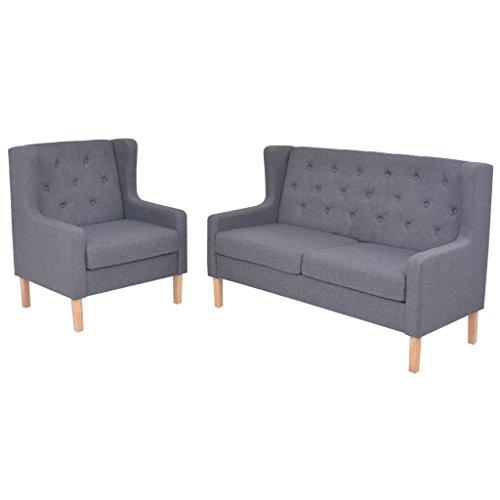 vidaXL Sofa Set 2-tlg. 2-Sitzer Stoff Grau Sofagarnitur Couch Polstersofa