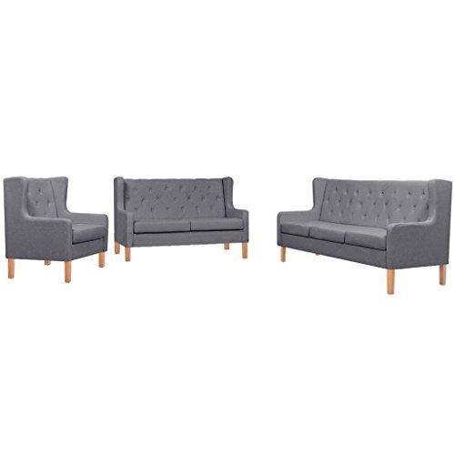 vidaXL Sofa Set 3-TLG. Stoff Grau Sofagarnitur Couch Polstersofa Armsessel