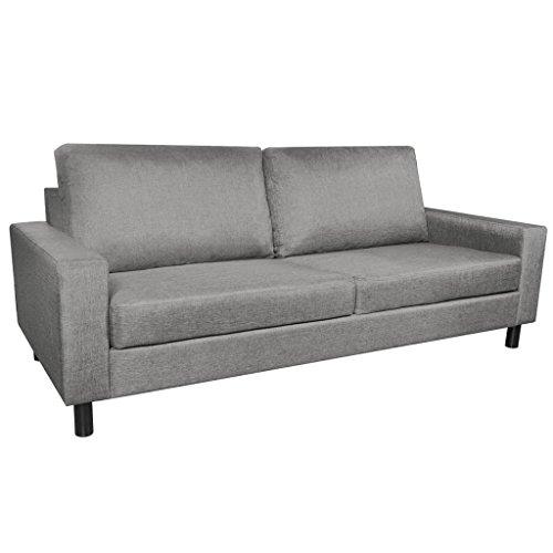 vidaXL Stoffsofa 3-Sitzer Polstersofa Loungesofa Couch Sitzmöbel Hellgrau Stoff