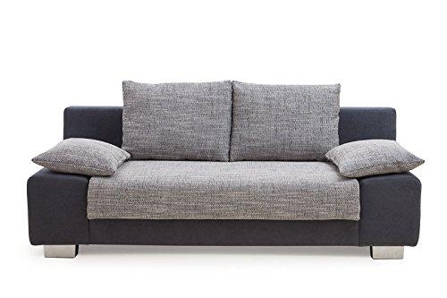 B-famous Max Sofa Zeitloses Funktionssofa Schlafsofa, Stoff, schwarz/grau, 98 x 201 x 85 cm