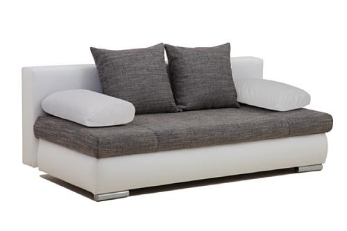 B-famous Schlafsofa Chicago-PUR Kunstleder, 200 x 95 cm, weiß mit Strukturstoff grau