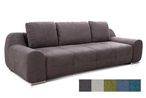 CAVADORE Big Sofa Benderes/Schlafsofa mit Bettfunktion und Bettkasten/Moderne Couch mit Steppung und Ziernaht/Inkl. 3 Kissen/Chromfüße / 266 x 70 x 102 (BxHxT) / Grau