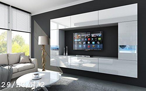 FUTURE 29 Moderne Wohnwand, Exklusive Mediamöbel, TV-Schrank, Schrankwand, TV-Element Anbauwand, Neue Garnitur, Große Farbauswahl (RGB LED-Beleuchtung Verfügbar) (29_HG_W_2, RGB fernbedienung)