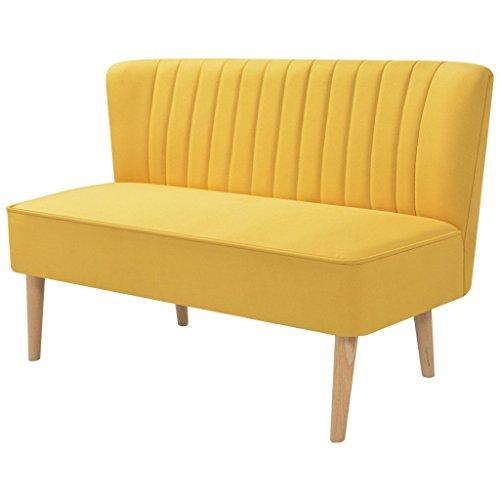 Festnight Sofa 2-Sitzer-Sofa 2-Sitzer Couch Loungesofa Wohnzimmersofa Stoffpolsterung Holzrahmen 117x55,5x77cm für Wohnzimmer Büro - Gelb