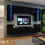 HomeDirectLTD Wohnwand Future 24 Moderne Wohnwand, Exklusive Mediamöbel, TV-Schrank, Neue Garnitur, Große Farbauswahl (RGB LED-Beleuchtung Verfügbar) (Ohne LED, Schwarz Hochglanz)
