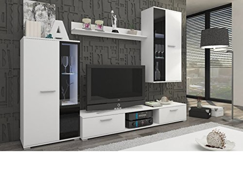Küchen-Preisbombe Top Wohnwand Salsa Anbauwand Wohnkombi Wohnzimmer Weiss matt + schwarz