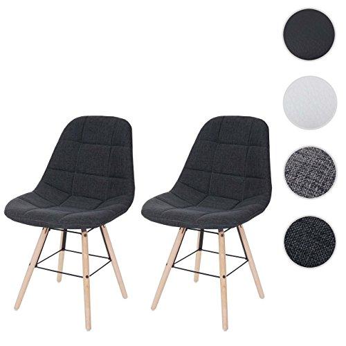 Mendler 2X Esszimmerstuhl HWC-A60 II, Stuhl Lehnstuhl, Retro 50er Jahre Design ~ Textil dunkelgrau