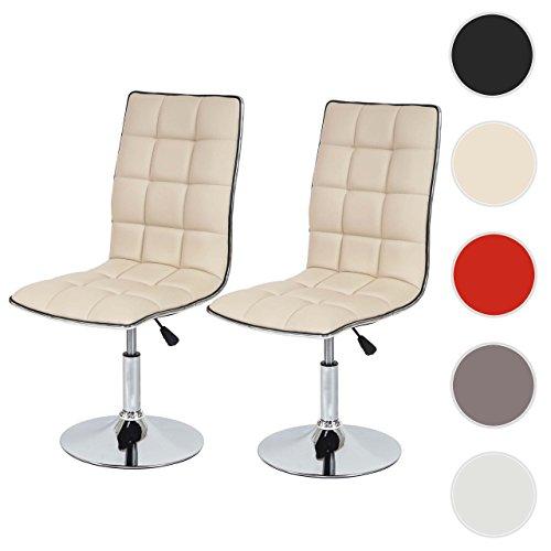 Mendler 2X Esszimmerstuhl HWC-C41, Stuhl Küchenstuhl, höhenverstellbar drehbar, Kunstleder ~ Creme