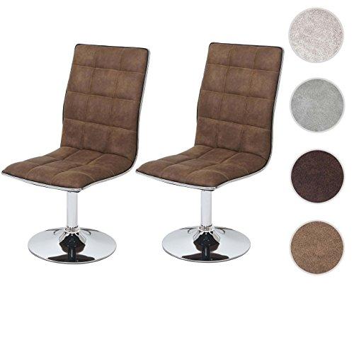 Mendler 2X Esszimmerstuhl HWC-C41, Stuhl Lehnstuhl, höhenverstellbar drehbar, Textil ~ Vintage braun