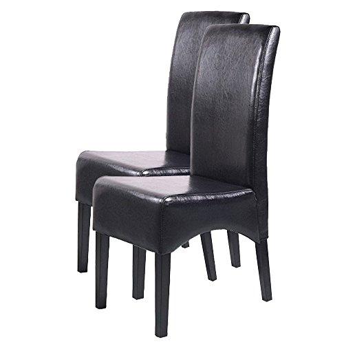 Mendler 2x Esszimmerstuhl Lehnstuhl Stuhl Latina, LEDER ~ schwarz, dunkle Beine