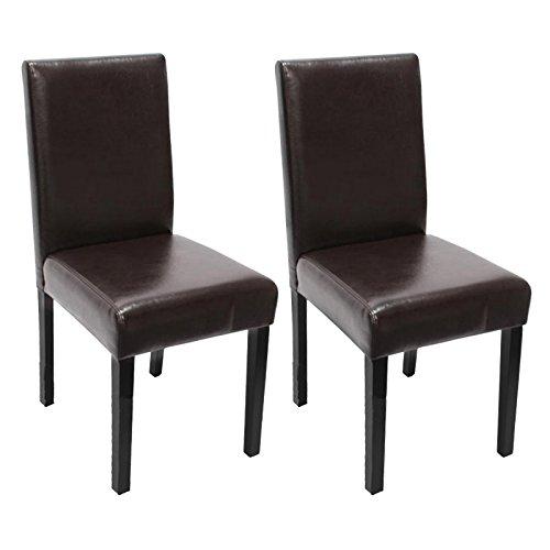 Mendler 2X Esszimmerstuhl Stuhl Küchenstuhl Littau ~ Kunstleder, braun, dunkle Beine