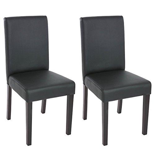 Mendler 2x Esszimmerstuhl Stuhl Lehnstuhl Littau ~ Kunstleder, schwarz matt, dunkle Beine