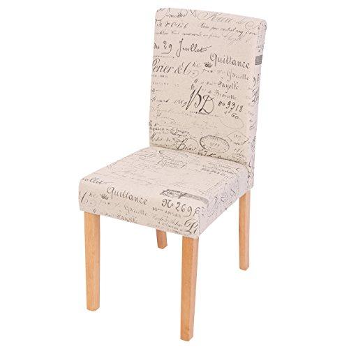 Mendler 2X Esszimmerstuhl Stuhl Küchenstuhl Littau ~ Textil mit Schriftzug, Creme, helle Beine