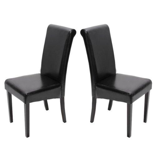 Mendler 2X Esszimmerstuhl Stuhl Küchenstuhl Novara II, Leder ~ schwarz, dunkle Beine