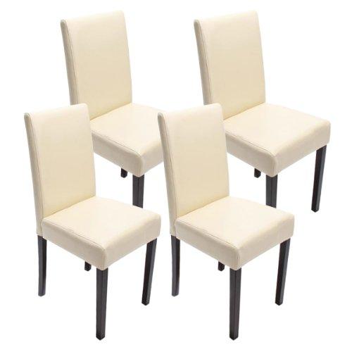 Mendler 4X Esszimmerstuhl Stuhl Küchenstuhl Littau ~ Kunstleder, Creme dunkle Beine