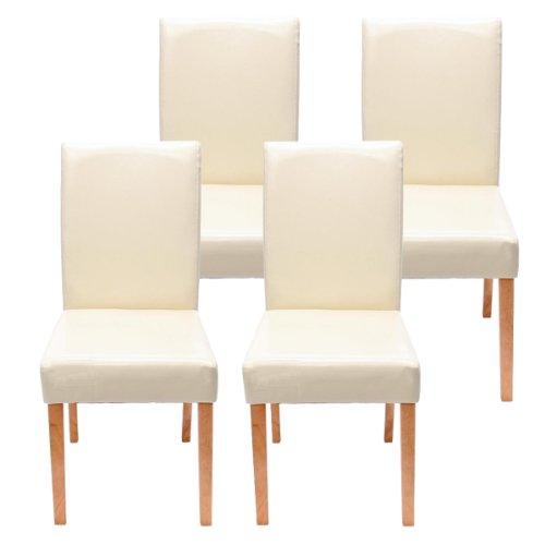 Mendler 4X Esszimmerstuhl Stuhl Küchenstuhl Littau ~ Kunstleder, Creme helle Beine