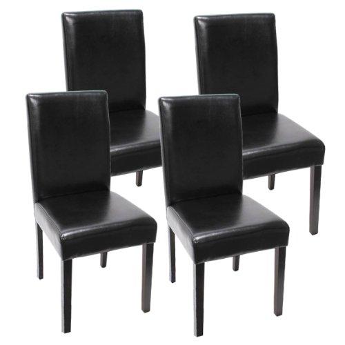 Mendler 4X Esszimmerstuhl Stuhl Küchenstuhl Littau ~ Kunstleder, schwarz dunkle Beine
