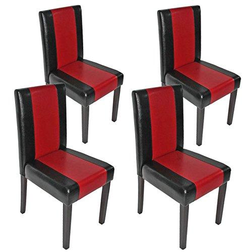 Mendler 4X Esszimmerstuhl Stuhl Küchenstuhl Littau ~ Kunstleder, schwarz-rot, dunkle Beine