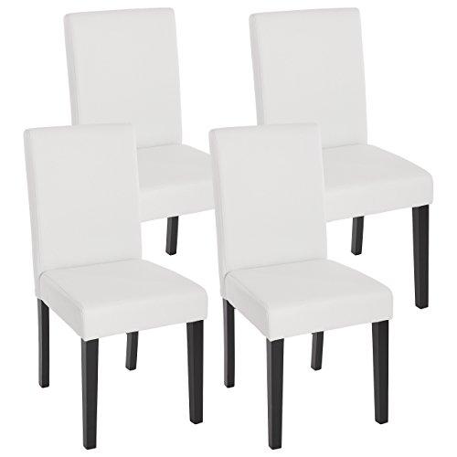 Mendler 4X Esszimmerstuhl Stuhl Küchenstuhl Littau ~ Kunstleder, weiß matt, dunkle Beine