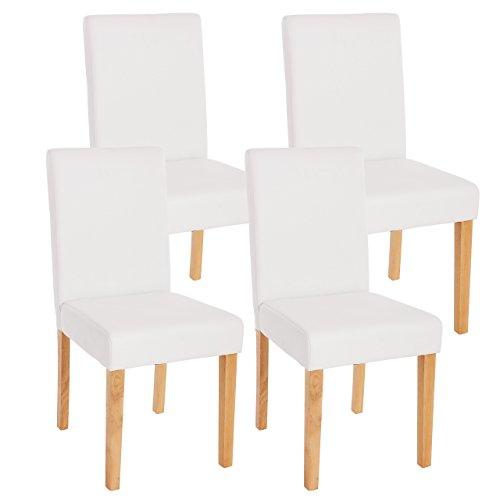 Mendler 4X Esszimmerstuhl Stuhl Küchenstuhl Littau ~ Kunstleder, weiß matt, helle Beine
