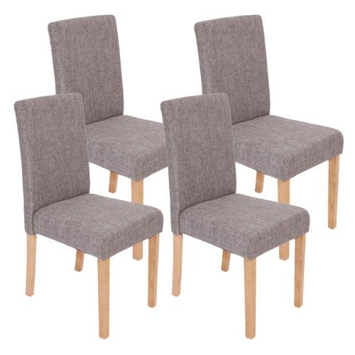 Mendler 4x Esszimmerstuhl Stuhl Lehnstuhl Littau ~ Textil, grau, helle Beine