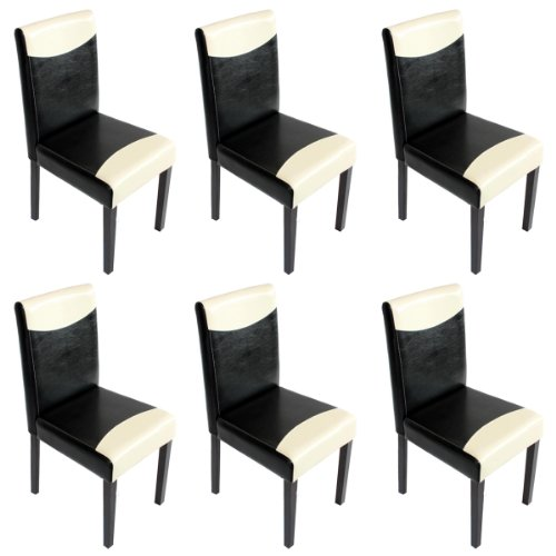 Mendler 6X Esszimmerstuhl Stuhl Lehnstuhl Littau ~ Kunstleder, schwarz-Creme, Dunkle Beine