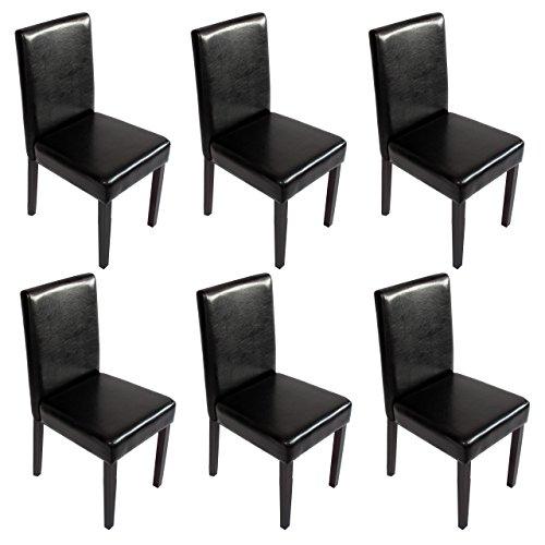 Mendler 6X Esszimmerstuhl Stuhl Küchenstuhl Littau ~ Kunstleder, schwarz, dunkle Beine