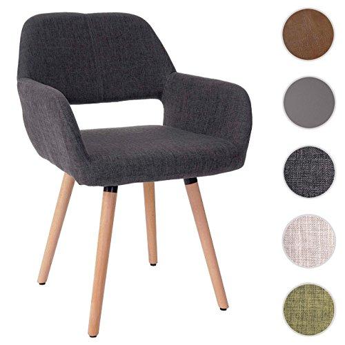 Mendler Esszimmerstuhl HWC-A50 II, Stuhl Küchenstuhl, Retro 50er Jahre Design ~ Textil, grau, helle Beine