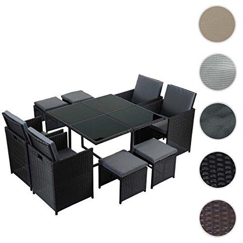 Mendler Poly-Rattan Garten-Garnitur Kreta, Lounge-Set Sitzgruppe ~ 4 Stühle schwarz, Kissen grau