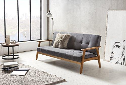 SalesFever Design-Schlafsofa, Sofa-Bett im skandinavischen Stil, Modernes 3-Sitzer Klappsofa, Stoff dunkelgrau, FSC 100% Holzgestell Eiche