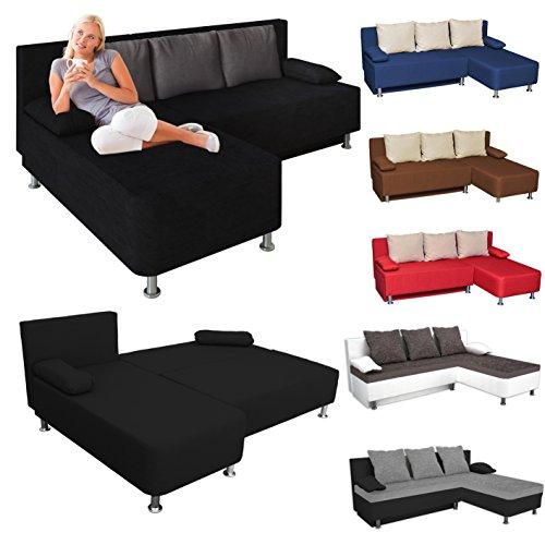 VCM Ecksofa Schlafsofa Sofabett Sofa Couch mit Schlaffunktion Farbwahl Schwarz