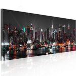 murando - Bilder New York 120x40 cm Vlies Leinwandbild 1 TLG Kunstdruck modern Wandbilder XXL Wanddekoration Design Wand Bild - Skyline NY Stadt City d-B-0087-b-a